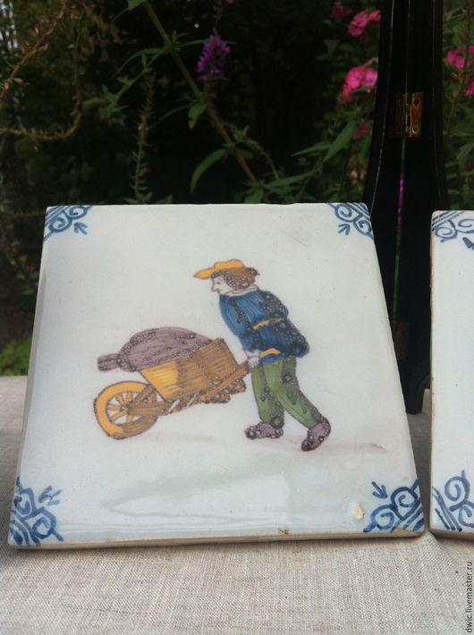 Винтажные предметы интерьера. Ярмарка Мастеров - ручная работа. Купить Плитка Tichelaar Makkum, раритет, ручная роспись, Голландия. Handmade.