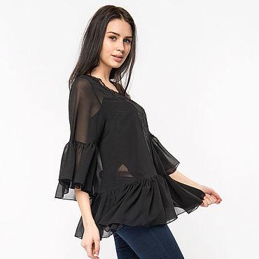 Одежда ручной работы. Ярмарка Мастеров - ручная работа Блуза прозрачная черная с ажурной вставкой (арт. 3393). Handmade.