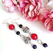Украшения handmade. Livemaster - original item Asymmetric earrings made of natural coral and agate. Handmade.