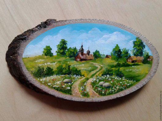 Пейзаж ручной работы. Ярмарка Мастеров - ручная работа. Купить Часовенка. Handmade. Деревянный спил, пейзаж, часовенка, тропинка, опушка