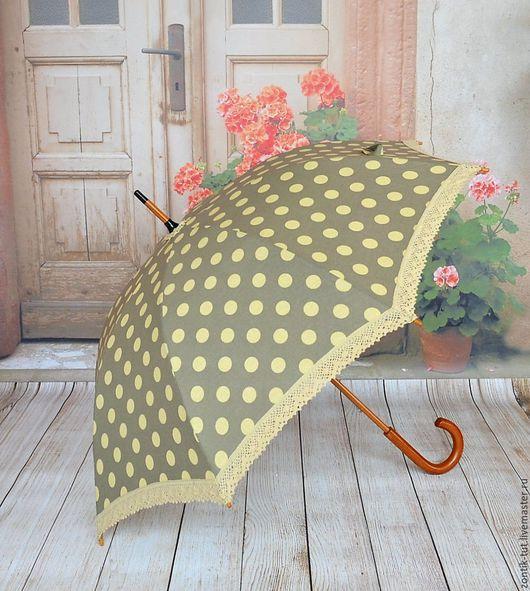 """Зонты ручной работы. Ярмарка Мастеров - ручная работа. Купить Зонт от солнца """" В горошек"""". Handmade. Коричневый, от солнца"""