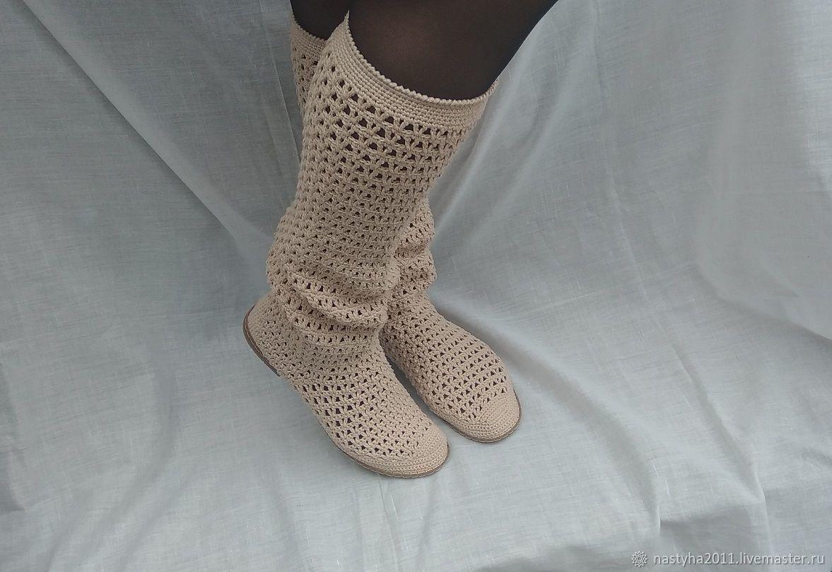 Обувь ручной работы. Ярмарка Мастеров - ручная работа. Купить Летние сапожки. Handmade. Вязание крючком, сапоги ручной работы