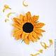 """Броши ручной работы. Ярмарка Мастеров - ручная работа. Купить Брошь """"Подсолнух"""". Handmade. Желтый, солнце, валяная брошь, цветок"""