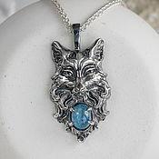 Украшения handmade. Livemaster - original item Silver Inari pendant with aquamarine. Handmade.