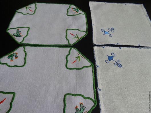 Винтажные предметы интерьера. Ярмарка Мастеров - ручная работа. Купить Салфетки льняные Ботанческий сад и Синие узоры 2 пары. Handmade.