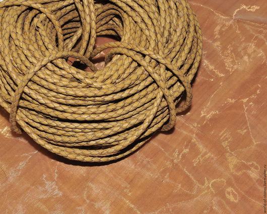 Для украшений ручной работы. Ярмарка Мастеров - ручная работа. Купить Шнур кожаный, плетенка. Handmade. Бежевый, кожа