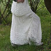 Одежда ручной работы. Ярмарка Мастеров - ручная работа Туника и юбка белый лен, кружево, БОХО, прованс. Handmade.