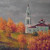 Картины и панно ручной работы. Ярмарка Мастеров - ручная работа Золотая осень. Храм на холмах. Handmade.