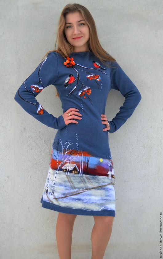 """Платья ручной работы. Ярмарка Мастеров - ручная работа. Купить платье """" Снегири"""". Handmade. Снегири, Рябина, 50% шерсть"""