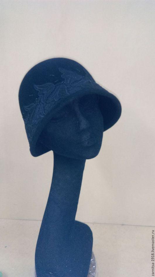 """Шляпы ручной работы. Ярмарка Мастеров - ручная работа. Купить шляпка """"клош"""". Handmade. Черный, клош, вышивка, шляпка на заказ"""