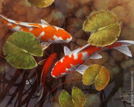 """Животные ручной работы. Ярмарка Мастеров - ручная работа. Купить Картина """"Карпы Кои"""". Handmade. Рыжий, аквариум, рыбки кои"""
