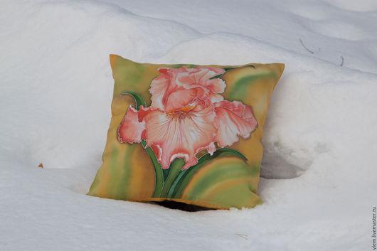 Текстиль, ковры ручной работы. Ярмарка Мастеров - ручная работа. Купить Батик подушка Ирис кремовый. Handmade. Подушка