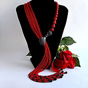 Украшения handmade. Livemaster - original item Necklace Tie from Red natural coral PRESENT Authoring works. Handmade.