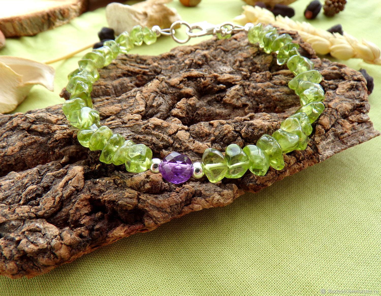 Bracelet with chrysolite and amethyst, Bead bracelet, Ekaterinburg,  Фото №1