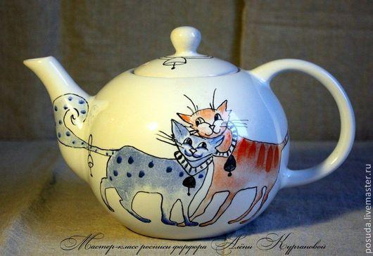 """Чайники, кофейники ручной работы. Ярмарка Мастеров - ручная работа. Купить Чайник """"Влюблённые коты"""". Handmade. Разноцветный, чайник, коты"""