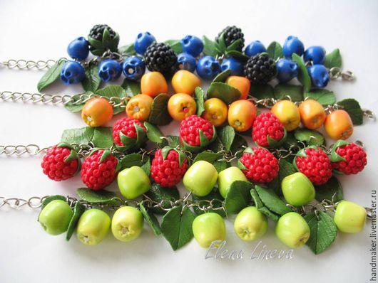 Браслеты ручной работы. Ярмарка Мастеров - ручная работа. Купить Ягодно-фруктовые браслеты, запекаемая полимерная глина. Handmade. желтый