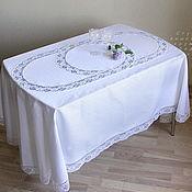 Для дома и интерьера handmade. Livemaster - original item Tablecloth oval Cells-2 white. Handmade.