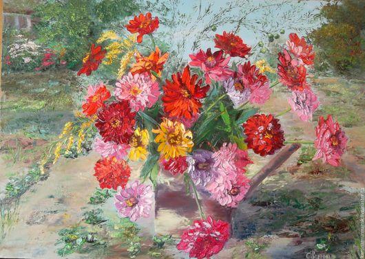 """Картины цветов ручной работы. Ярмарка Мастеров - ручная работа. Купить Картина маслом с цветами 50/70 """"Любимые цветы на даче"""". Handmade."""
