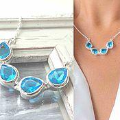 Necklace handmade. Livemaster - original item Necklace Drops blue, droplets, water, sea, blue white. Handmade.