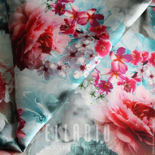 """Шитье ручной работы. Ярмарка Мастеров - ручная работа. Купить Шелк """"Пионы"""". Handmade. Комбинированный, голубой, сакура, цветы"""