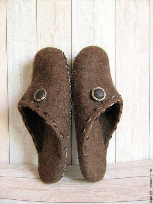 Обувь ручной работы. Ярмарка Мастеров - ручная работа. Купить Валяные домашние мужские тапочки Шоколад. Handmade. Шоколадный, для мужчин