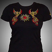 Русский стиль handmade. Livemaster - original item T-shirt with embroidered