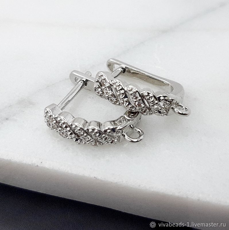 Shvenzy with lock 15,5 mm with zircons color platinum (4770), Schwenzy, Voronezh,  Фото №1