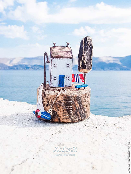 Статуэтки ручной работы. Ярмарка Мастеров - ручная работа. Купить Дом на острове driftwood. Handmade. Комбинированный, морская тема, домики