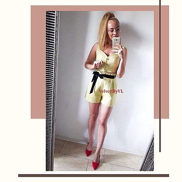 Одежда ручной работы. Ярмарка Мастеров - ручная работа Шорты Amalfi хлопковый жаккард, короткие с оборкой с карманами. Handmade.