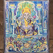 """Картины и панно ручной работы. Ярмарка Мастеров - ручная работа """"Ганеша в синем городе"""". Handmade."""
