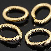 Материалы для творчества handmade. Livemaster - original item Ring twisted OVAL 14H10 mm gold plated th. Korea (art. 2782). Handmade.
