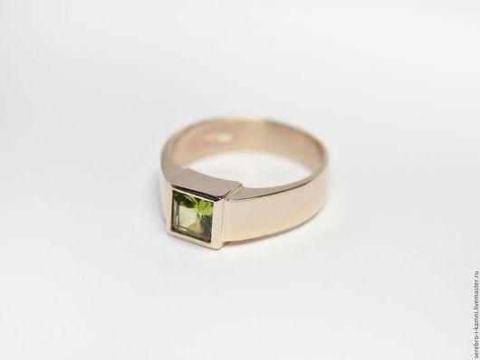 Кольца ручной работы. Ярмарка Мастеров - ручная работа. Купить кольцо с турмалином (золото 585 пробы). Handmade. Золотой, квадрат