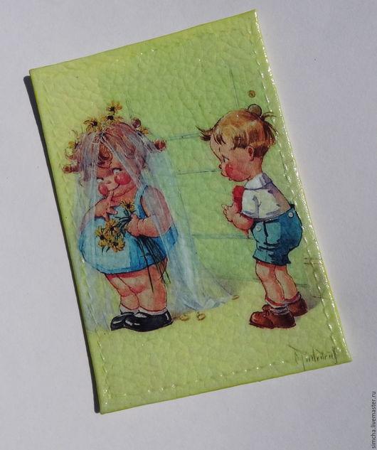 Обложки ручной работы. Ярмарка Мастеров - ручная работа. Купить Обложка для проездного или социальной карты кожаная. Тили тили тесто. Handmade.