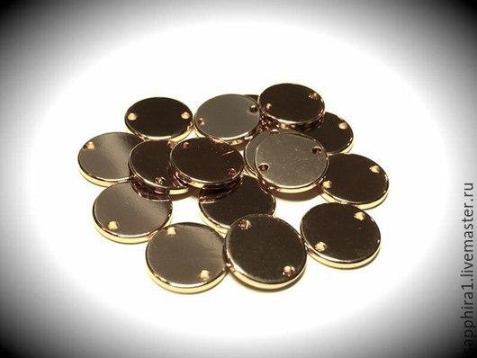 Для украшений ручной работы. Ярмарка Мастеров - ручная работа. Купить коннектор монетка позолоченная. Handmade. Золотой, коннектор для украшений