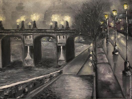 """Город ручной работы. Ярмарка Мастеров - ручная работа. Купить Картина масло """"Темный город"""". Handmade. Серый, туман, набережная"""