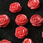 """Бусины ручной работы. Ярмарка Мастеров - ручная работа Кабошон """"Розочка красный коралл"""" 10, 12, 15 и 18 мм , коралл. Handmade."""