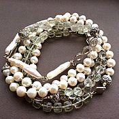 Украшения handmade. Livemaster - original item The THEATRICAL SEASON with pendant of green amethyst and pearls. Handmade.
