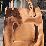Классическая сумка ручной работы. Ярмарка Мастеров - ручная работа Кожаная женская сумка светло-коричневая. Handmade.
