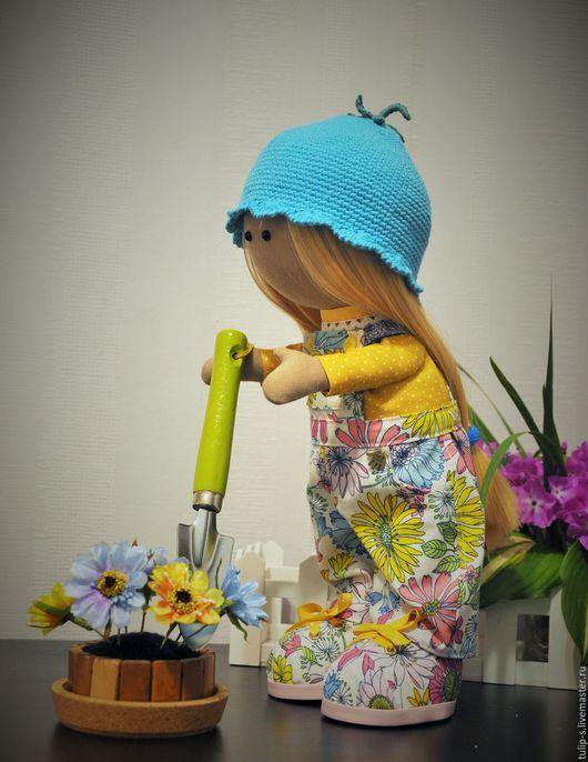 """Куклы тыквоголовки ручной работы. Ярмарка Мастеров - ручная работа. Купить Интерьерная кукла """"Июнька"""". Handmade. Желтый, трикотаж, пробка"""