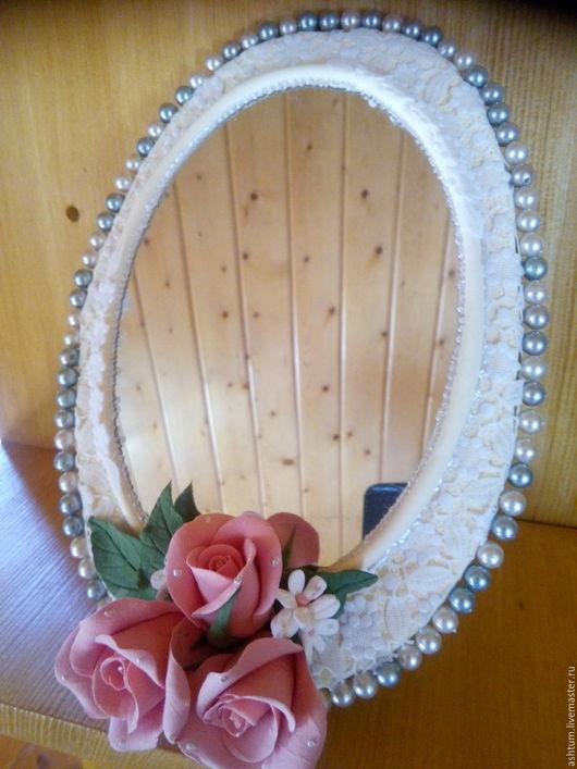 Зеркала ручной работы. Ярмарка Мастеров - ручная работа. Купить Зеркало с розами.. Handmade. Зеркало, зеркало настольное, картон