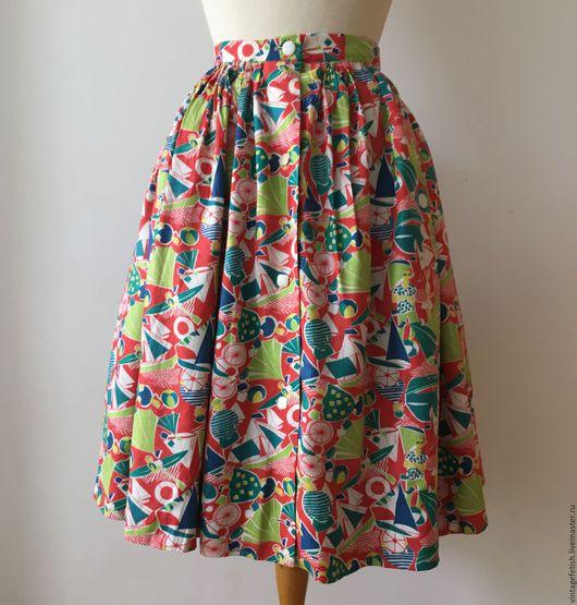 Одежда. Ярмарка Мастеров - ручная работа. Купить Винтажная юбка с редким принтом, 1950 годы.. Handmade. Комбинированный, 1950-е