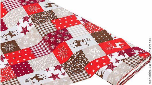 """Шитье ручной работы. Ярмарка Мастеров - ручная работа. Купить Ткань Германия """"Олени пэчворк красный"""" Новый год для тильды пэчворк. Handmade."""