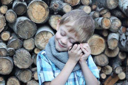Шапки ручной работы. Ярмарка Мастеров - ручная работа. Купить Снуд вязанный шерстяной серый натуральная шерсть шарф мериносовый. Handmade.