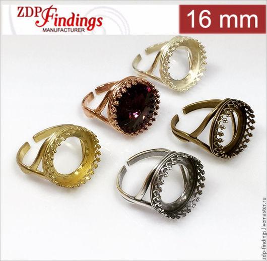 Для украшений ручной работы. Ярмарка Мастеров - ручная работа. Купить 6 цветов 4 латунных 16мм основы сеттинга для кольца 8482V. Handmade.