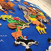Куклы и игрушки ручной работы. Ярмарка Мастеров - ручная работа Карта мира с животными. Handmade.