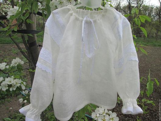 Одежда для девочек, ручной работы. Ярмарка Мастеров - ручная работа. Купить Блуза - крестьянка для девочки.. Handmade. Белый, для девочки