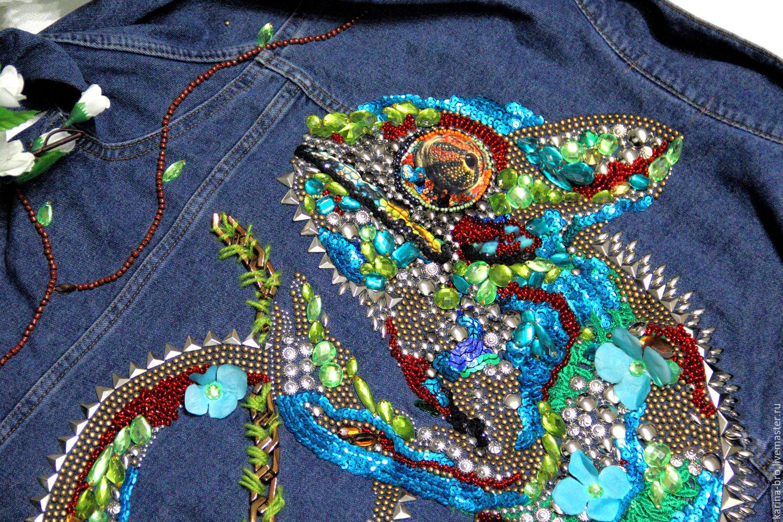 Вышивка из пайеток на джинсах