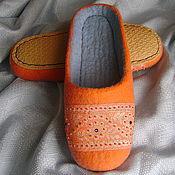 Обувь ручной работы. Ярмарка Мастеров - ручная работа Оригинальный подарок - Валяные тапочки  Оранж. Handmade.