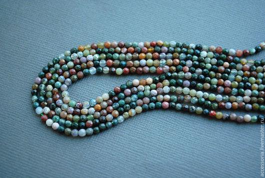 3 мм. Яшма мелкие бусины, разноцветные, нить.