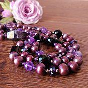 Украшения handmade. Livemaster - original item Beads of Pearls and Amethyst My blueberry nights. Handmade.